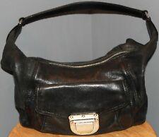 a022fc5b92df Michael Kors Black Leather Hobo Shoulder Handbag Purse with Silver Hardware