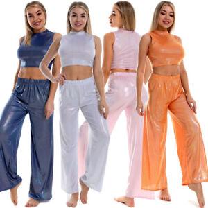 Women Clothing Set PVC Leather Crop Tops Shiny Wide Leg Pants Dance Clubwear