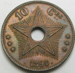 CONGO (Free State) 10 Centimes 1894 - Copper - XF - 2441 ¤