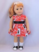 "Coke a cola dress fit 18"" and American Girl dolls"