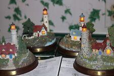 4 Thomas Kinkade Lighted Lighthouses With Original box and Coas