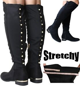 Womans Black Knee High Boots Nylon Stretch Wide Fit Calf Flat Heel Pearl Detail