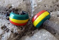 Wood Hoop Earrings Wooden Tribal Ethnic Piercing Rasta Reggae Bob Marley