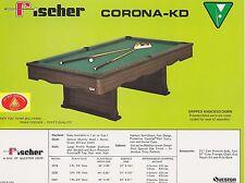 VINTAGE AD SHEET #1826 - FISCHER BILLIARDS POOL TABLE - CORONA-KD