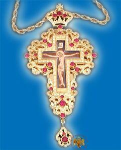 Orthodox Pectoral Priest Cross Crucifix Enamel Icon & Zirgon Stones Pektorale