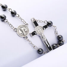 Rosary Beads Mens Boys Girl First Holy Communion HEMATITE +Bag Quality Rosaries
