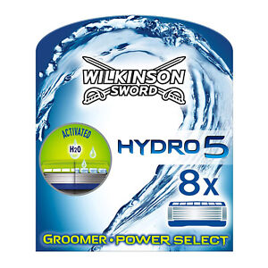 Wilkinson Sword Hydro 5 Groomer and Power Select 8 Pack Mens Razor Blades