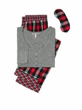 NWT Victoria's Secret The Dreamer Henley Pajamas PJ's 2 pc Set S  Red black ck