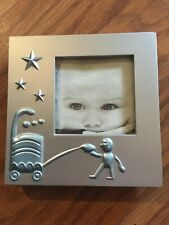 Baby Photo Frame Blue Accents 2 1/4� Photo Silver
