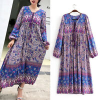 Womens Hippie India Ethnic Dashiki Festival Boho Floral Bib Maxi Dress Long