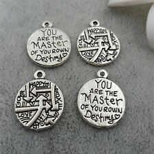 You Are The Master Of Your Own Destiny Round Disc Quote Message Charm