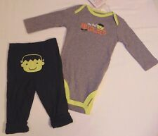 Carters MY FIRST HALLOWEEN 2 piece Outfit 6M Boy Jumper & Pants NEW 6 mo Baby