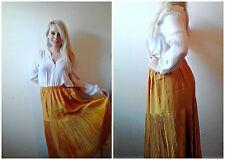 Vtg 70s Antique Gold Colored Women's XL Accordian Pleated Midi Tea Length Skirt