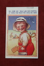 Child at Beach with Shovel and Bucket Postcard (Artist Signed D Tempest)
