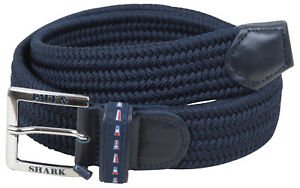 """Paul & Shark YACHTING Men's Belt Braided Stretch Leather Size 85 33"""" Blue"""