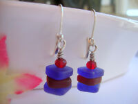Stacked Cobalt Blue & Red Sea Glass Square Crystal Silver Leverback Earrings