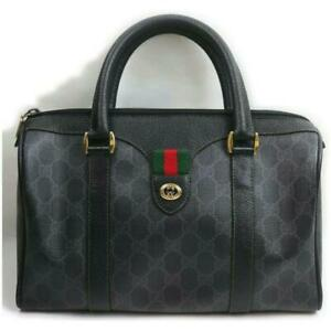 Gucci  Ultra Rare Web Black Supreme GG Monogram Boston Bag 862052