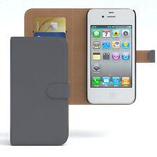 Tasche für Apple iPhone 4 / 4S Case Wallet Schutz Hülle Cover Anthrazit