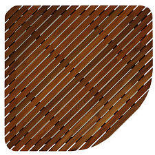 "Bare Decor Erika Corner Shower Spa Mat in Solid Teak Wood Oiled Finish 30"" x 30"""