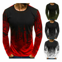 Mens Fashion O Neck Gradient Color Long Sleeve Basic Solid Blouse Tee Shirt Tops