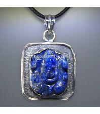 Ganesha tallada en Lapislázuli y en colgante de plata de ley