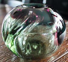 Rare & Fascinating WILLIAM WORCESTER Hawaiian Hand Blown Glass Sphere Vase c1975