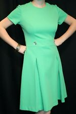 M Vtg 70s MOD Dress Scooter Fit Flare Pleated Skirt Green Knit CHIC Secretary
