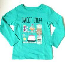 New Carters Girls Shirt Sweet Stuff Green Food Cake Mouse Glitter Long Sleeve 2T