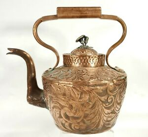 Unusual Antique Repousse' Copper Teapot - Dove Tailed Body - Tinned Interior