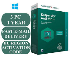 KASPERSKY ANTI-VIRUS 3 PC 1 YEAR ACTIVATION CODE EU REGION 2019 E-MAIL ONLY