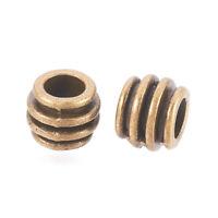 50pcs Antique Bronze Tibetan Alloy Barrel European Large Hole Beads Spacer 6x8mm