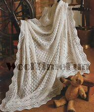 Knitting Pattern Baby's Diamond Design Lace Shawl/Blanket. 3 Ply, 50 Inch Square