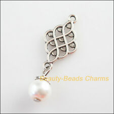 8 New Knot Charms White Glass Round Beads Pendants Tibetan Silver Tone 14x37mm