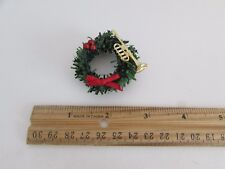 Dollhouse Miniature - Wreath with Red Bow, Red Balls and Gold Trumpet