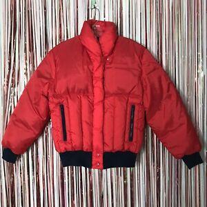 Vintage 1970s Womens JC Penney Ski Apparel red puffer ski jacket Nylon Snow - M
