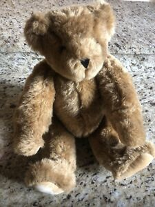 """Vermont Teddy Bear 14"""" Classic Fully Jointed Beautiful Stuffed Plush Toy EUC!"""