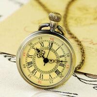 Bronze Retro Quartz Pocket Watch Steampunk Necklace Chain Pendant Gift Vintage