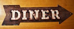 Rustic Diner Arrow Broken Marquee Light Sign Primitive Restaurant Home Decor NEW