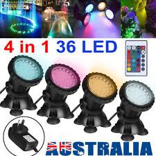 4 in1 Underwater Spot Light RGB LED Aquarium Fountain Pond Lamp + Remote Control