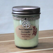 8 oz. Pineapple Sage Natural Soy Wax Wood Wick Green Candle