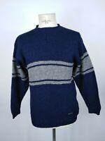 ASICS MAGLIONE VINTAGE 100% LANA VERGINE Cardigan Sweater Pullover Tg M Uomo