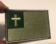 CHRISTIAN FLAG Cross of Jesus Christ Embroider Tactical Morale Hk/Lp Patch Green