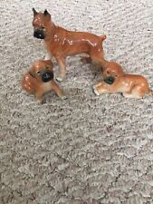 Vintage Ceramic Porcelain Boxer Figures - Mother & 2 Pups
