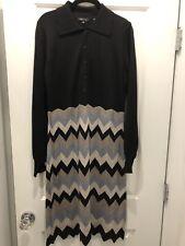 New With Tags BCBG Maxazria Black Sweater Dress Chevron Pattern Long Sleeve XL