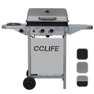 Barbecue à gaz (2+1 brûleurs) Barbecue en acier de couleur noir / argent