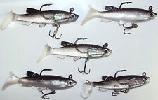 Soft Plastic Vibe Lures Poddy Mullet Jig Heads Freshwater Fishing Lure Cod x5