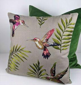 ILiv Montserrat Cranberry Beige Fabric Cushion Cover Embroidered Tropical Birds