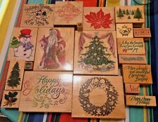 Christmas Rubber Stamp LOT of 20 Hero Arts Stamps Happen All Night Media Holiday