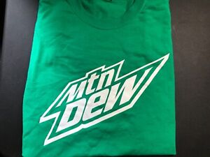 New Pepsi Promo Mountain Dew T-Shirt Crew Neck Short Sleeve Green Mtn Dew Logo