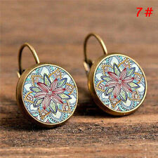 2x Elegant Round Stud Ear Vintage Women Girls Lady Crystal Flower Hoop Earrings 5